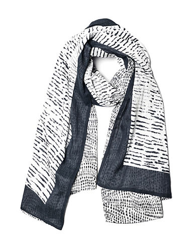 Liebeskind Interval Ink Blot Scarf With Border-WHITE-One Size