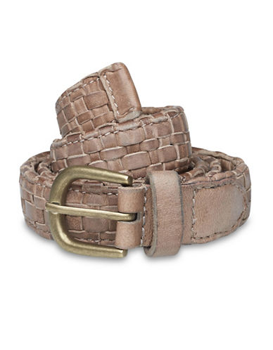 Liebeskind Basket Weave Leather Belt-STONE-Small