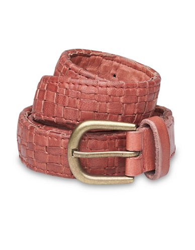 Liebeskind Basket Weave Leather Belt-LIPSTICK-Large