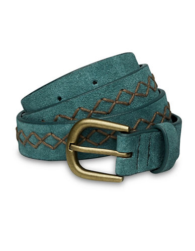 Liebeskind Decorative Stitch Leather Belt-TEAL-Medium