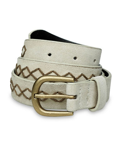 Liebeskind Decorative Stitch Leather Belt-BEIGE-Medium