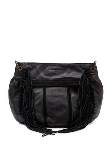 Liebeskind Danielle Leather Satchel Fringe Bag-BLACK-One Size