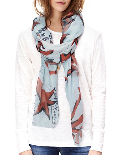 Liebeskind Cobblestone Graffiti Scarf-GREY/RED-One Size