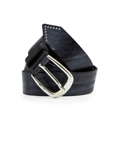 Liebeskind Studded Tip Leather Belt-BLACK/SILVER-Small