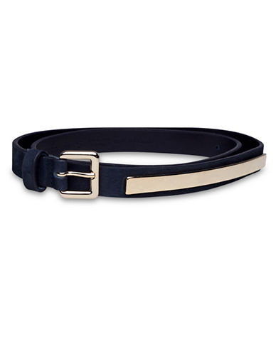Liebeskind Metal Plaque Leather Belt-DARK BLUE-Small