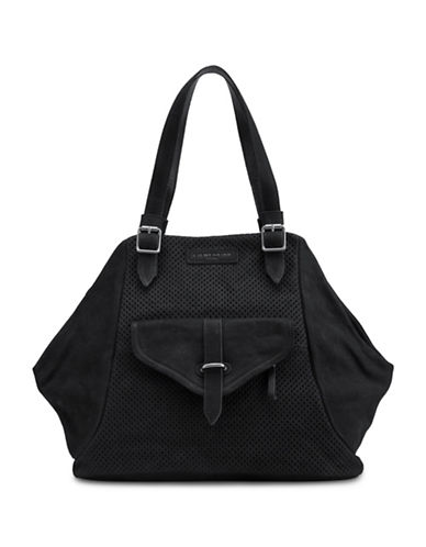 Liebeskind Sacha Leather Perforated Tote-BLACK-One Size