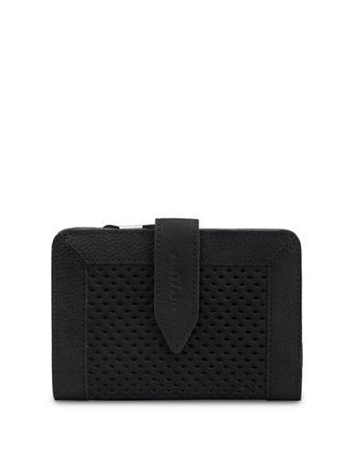 Liebeskind Wanika Leather Perforated Zip-Around Wallet-BLACK-One Size