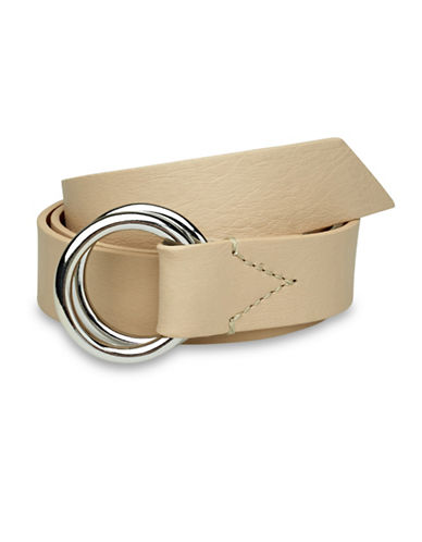 Liebeskind Double Ring Leather Belt-STONE-Large