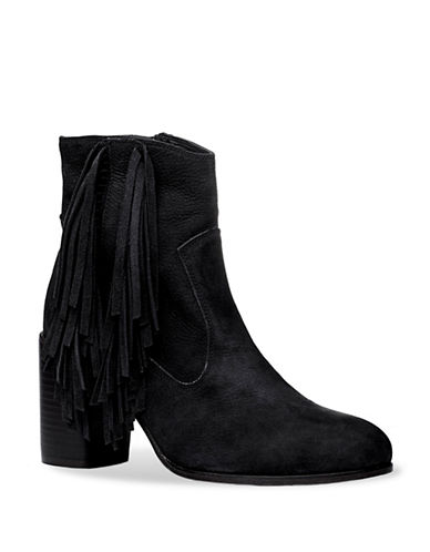 Liebeskind Tassels Leather Booties-BLACK-EUR 36/US 6