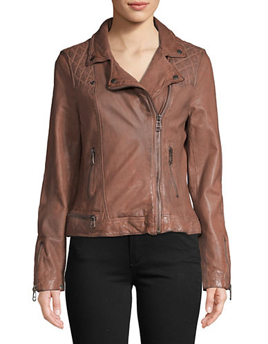 Liebeskind Leather Biker Jacket-PINK-Small