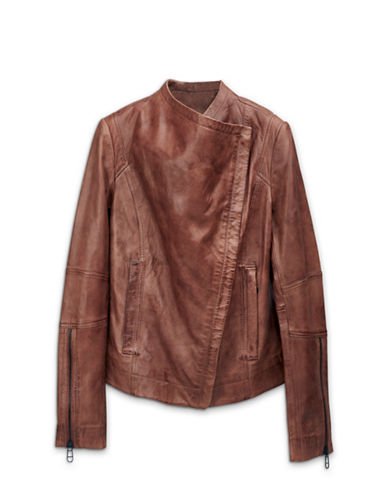 Liebeskind Collarless Leather Jacket-BROWN-Small