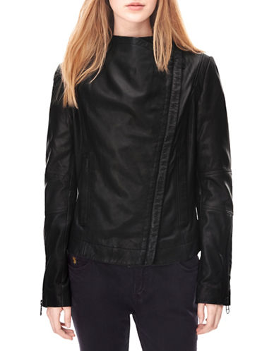 Liebeskind Collarless Leather Jacket-BLACK-Medium 88799219_BLACK_Medium
