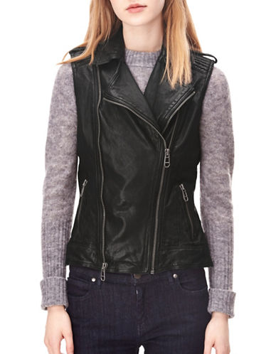 Liebeskind Leather Vest-BLACK-X-Small