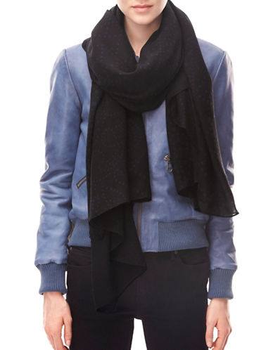 Liebeskind Solid Dot Scarf-BLACK-One Size