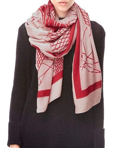 Liebeskind Abstract Print Wave Scarf-RED-One Size