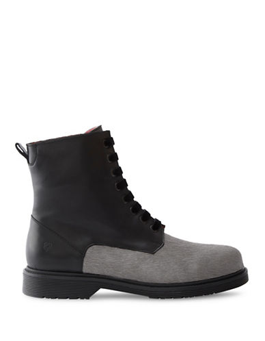 Liebeskind Calf Hair Combat Boots-BLACK-EUR 36/US 6