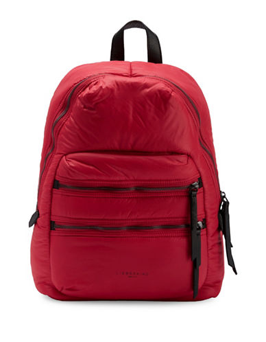 Liebeskind Saku Nylon and Leather Backpack-RED-One Size
