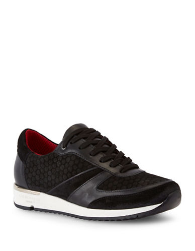 Liebeskind Honey Comb Pattern Leather Sneaker-BLACK-EUR 36/US 6