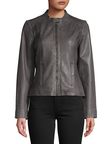 Liebeskind Leather Moto Jacket-GREY-Large