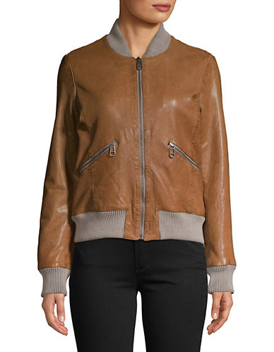 Liebeskind Leather Bomber Jacket-BEIGE-Small