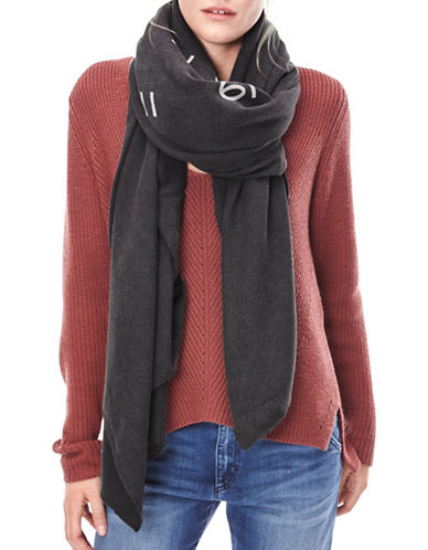 Liebeskind Numbercode Print Scarf-BLACK-One Size