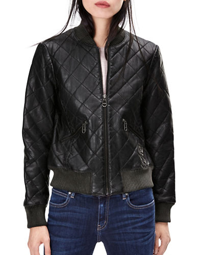 Liebeskind Quilted Leather Bomber Jacket-BLACK-Large