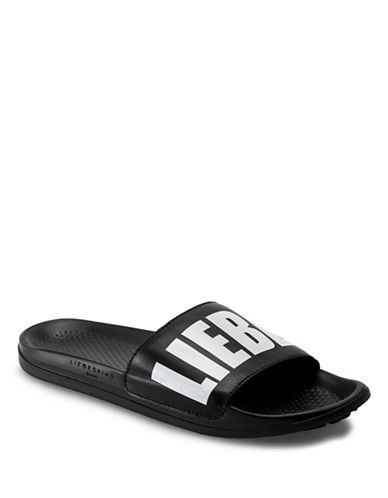Liebeskind Leather Logo Slide Sandals-BLACK-EUR 39/US 9