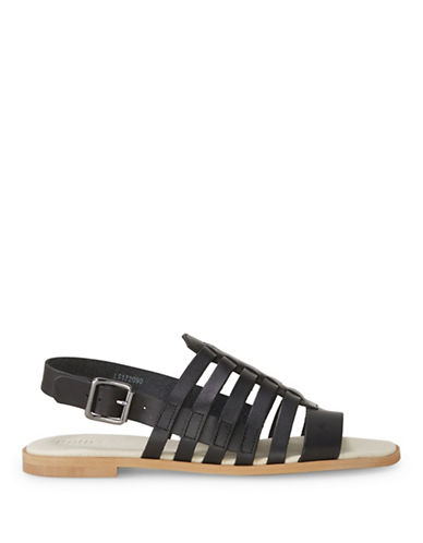 Liebeskind Leather Caged Flat Sandals-BLACK-EUR 41/US 11