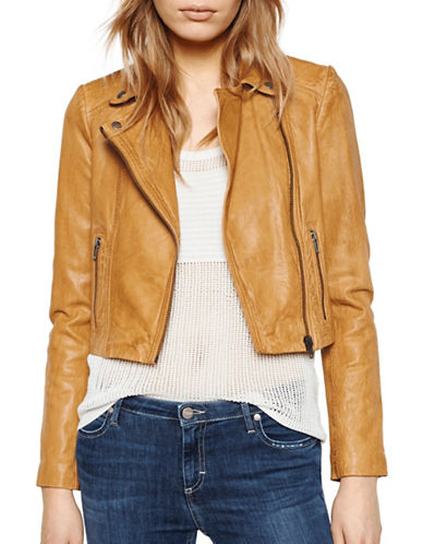 Liebeskind Cropped Moto Faux Leather Jacket-YELLOW-Large