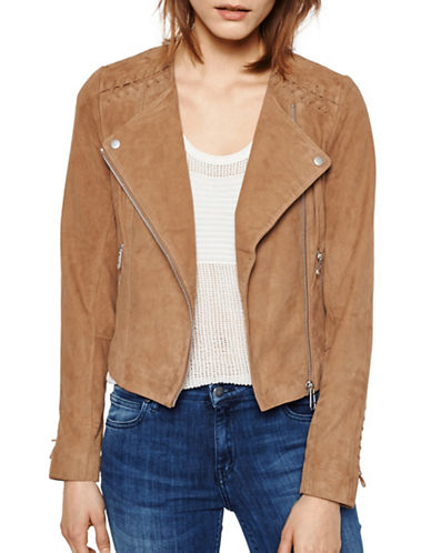 Liebeskind Faux Leather Moto Jacket-COGNAC-Medium