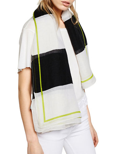 Liebeskind Linen-Blend Printed Scarf-WHITE-One Size