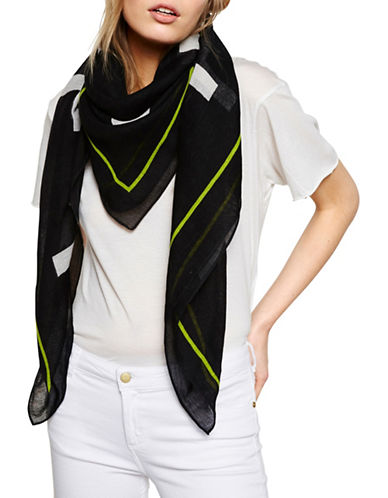 Liebeskind Linen-Blend Printed Scarf-BLACK/LIME-One Size