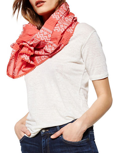 Liebeskind Pleated Crochet Scarf-CORAL-One Size