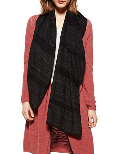 Liebeskind Pleated Crochet Scarf-BLACK-One Size