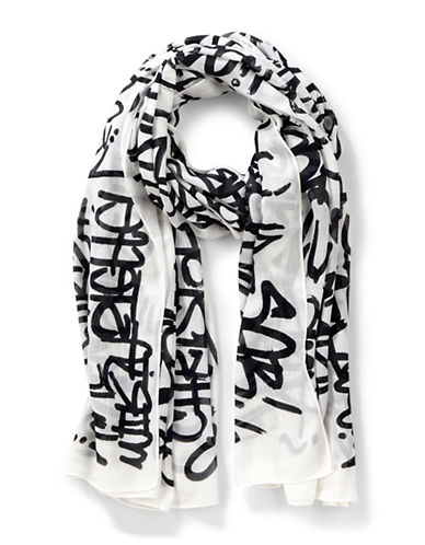 Liebeskind Graffiti Printed Scarf-BLACK-One Size