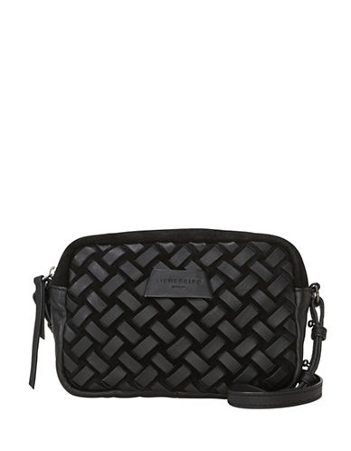 Liebeskind Pasadena Leather Woven Shoulder Bag-BLACK-One Size