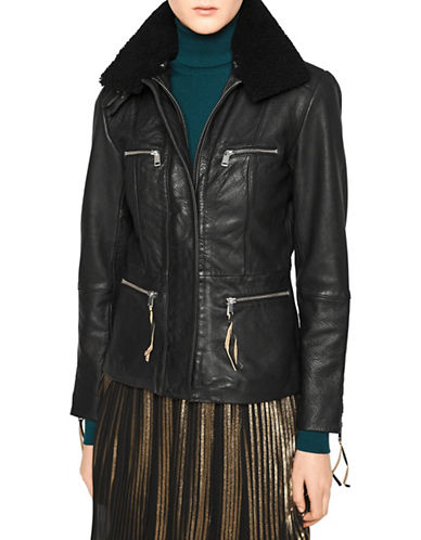 Liebeskind Faux Fur Trimmed Leather Jacket-BLACK-X-Large