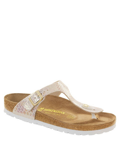 Birkenstock Womens Gizeh Patent Thong Sandals-CREAM SNAKE-EUR 37/US 6