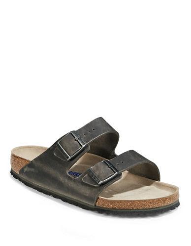 Birkenstock Mens Arizona Soft Oiled Leather Sandals-GREY-EU 41/US 8