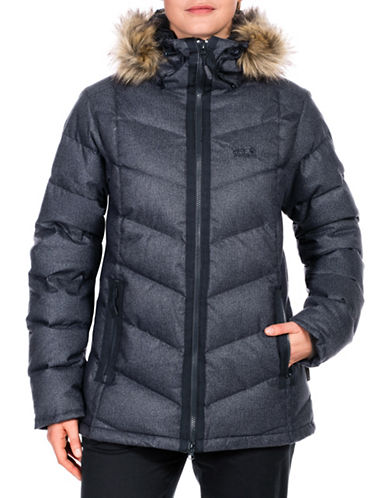 Jack Wolfskin Baffin Bay Faux Fur Down Jacket-BLUE-Small
