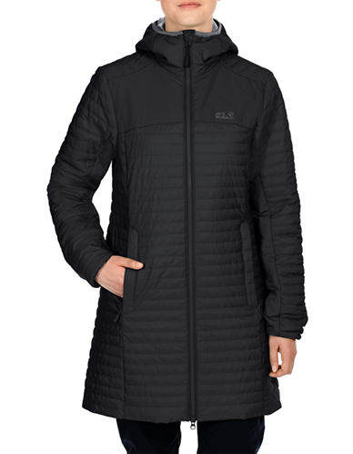 Jack Wolfskin Hooded Quilt Coat-BLACK-Small