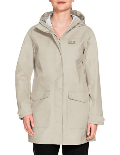 Jack Wolfskin Crosstown Raincoat-WHITE SAND-X-Large
