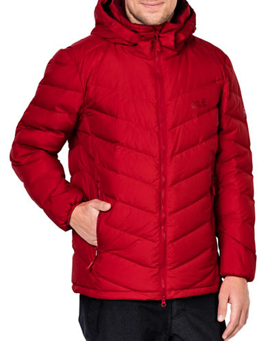 Jack Wolfskin Fairmont Down Fill Hooded Jacket-RED-Large
