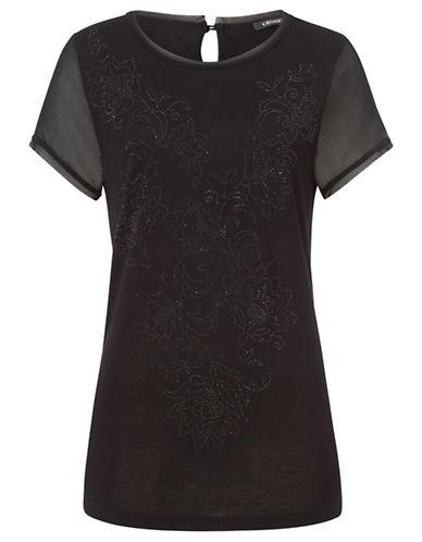 Olsen Chiffon and Knit Tee-BLACK-EUR 40/US 10