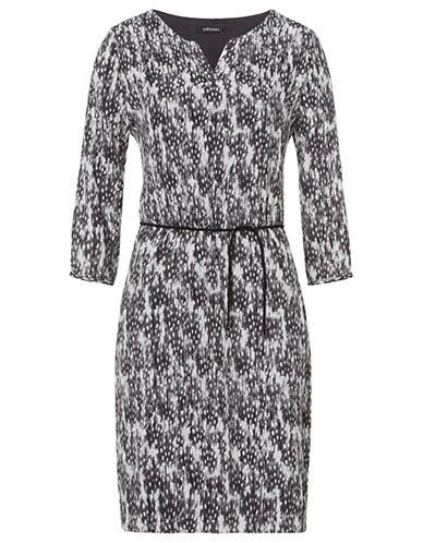 Olsen Feather Print Dress-GREY MULTI-EUR 36/US 6