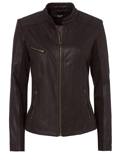Olsen Faux-Leather Moto Jacket-BLACK-EUR 44/US 14
