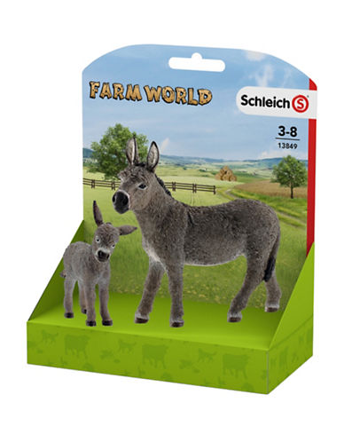 Schleich Two-Piece Donkey and Foal Toy Set-MULTI-One Size 89637099_MULTI_One Size