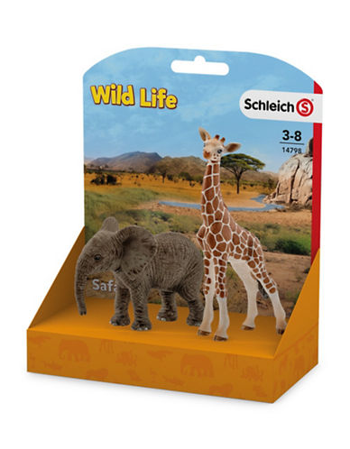 Schleich Two-Piece African Elephant Calf and Giraffe Calf Toy Set-MULTI-One Size 89637111_MULTI_One Size