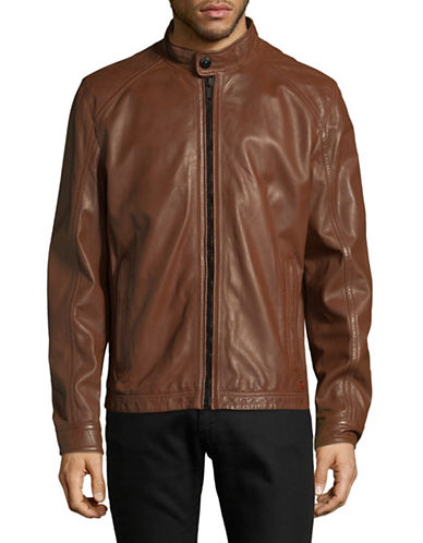Strellson Leather Long Sleeve Jacket-BROWN-44