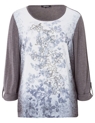Olsen Embellished Floral Print Top-BLUE MULTI-EUR 38/US 8